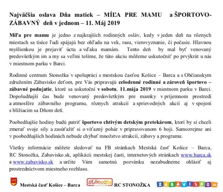 efb038e80 MIĽA PRE MAMU A ŠPORTOVO-ZÁBAVNÝ DEŇ   Košice