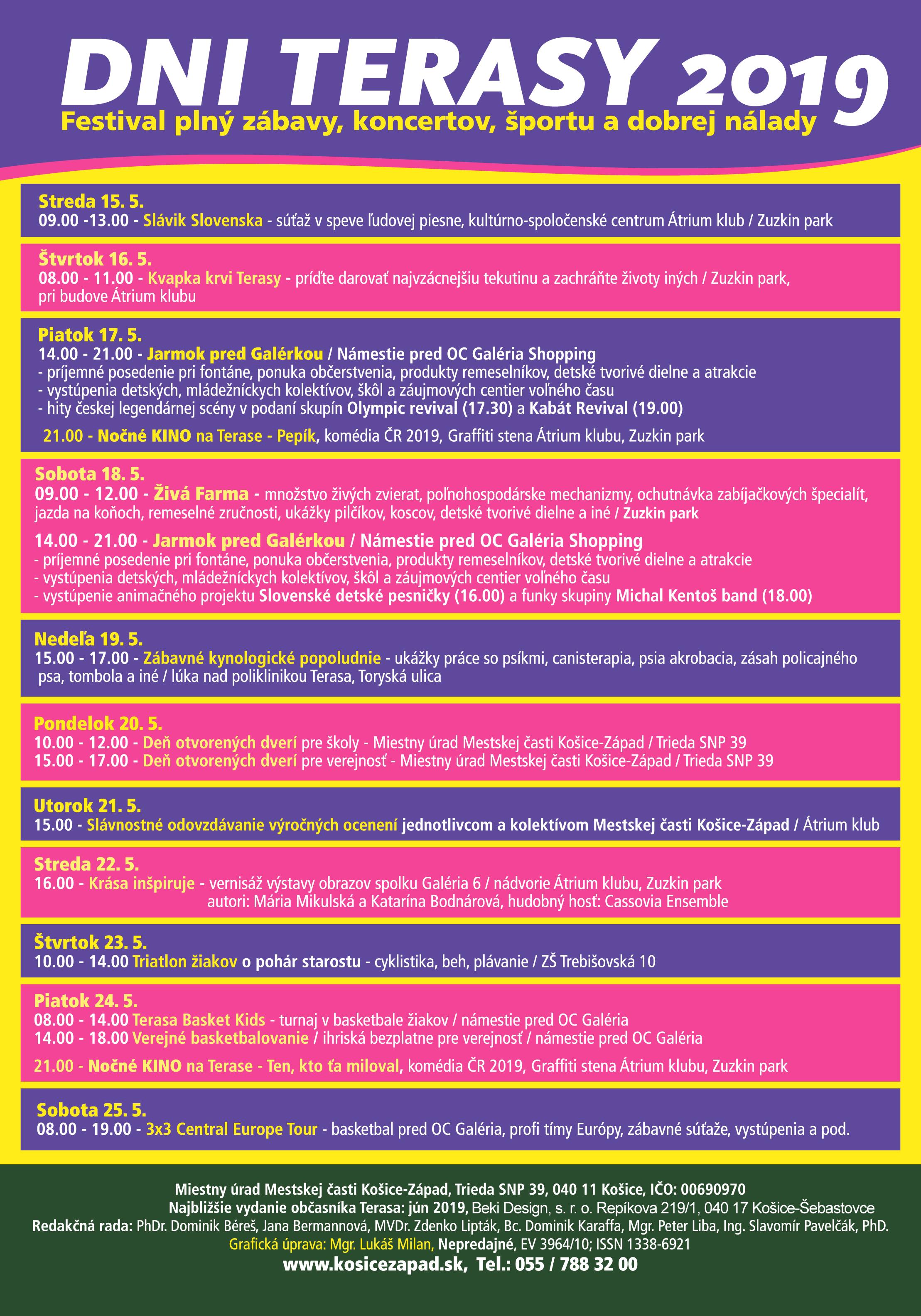 30201b24d Kompletný program festivalus viac než desiatkou akcií si môžete nájsť na  www.kosicezapad.sk v sekcii Dni Terasy 2019 a denne aktualizované  informáciena FB: ...